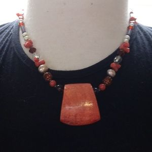 Beaded Coral Pendant Necklace